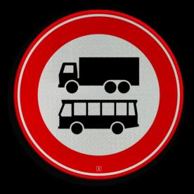 Verkeersbord Autobus is : motorvoertuig, ingericht voor het vervoer van meer dan acht personen, de bestuurder daaronder niet begrepen Vrachtauto is : motorvoertuig, niet ingericht voor het vervoer van personen, waarvan de toegestane maximum massa meer bedraagt dan 3500 kg Verkeersbord RVV C07b - Gesloten voor vrachtauto's en bussen C07b verbodsbord, verboden voor vrachtwagens, geen vrachtwagens, verboden, vrachtauto's, c7