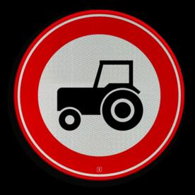 Verkeersbord Gesloten voor motorvoertuigen die niet sneller kunnen of mogen rijden dan 25km/h Verkeersbord RVV C08 - Gesloten voor langzaam verkeer C08 verbodsbord, verboden voor tractoren, geen tractor, verboden, trekker, C8, trekkers, gesloten verklaring