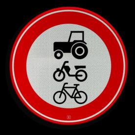 Verkeersbord Gesloten voor ruiters, vee, wagens en motorvoertuigen die niet sneller kunnen of mogen rijden dan 25 kilometer per uur en brommobielen, alsmede fietsers, bromfietsers en gehandicaptenvoertuigen Verkeersbord RVV C09 - Gesloten voor ruiters, vee, wagens en motorvoertuigen < 25km/h C09 verbodsbord, verboden voor tractor, geen tracktor, verboden, trekker, fiets, brommer, langzaam verkeer, C9