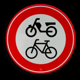 Verkeersbord Gesloten voor fietsers, bromfietsers en gehandicaptenvoertuigen Verkeersbord RVV C15 - Gesloten voor fietsers, bromfietsers C15 verbodsbord, verboden voor brommers, geen brommers, verboden, fietsen, C15, scooters, snorfietsen, bromfietsen, gehandicaptenvoertuigen