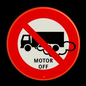 Verkeersbord Motor uitschakelen - vrachtauto Verkeersbord C07_motor uit soepbord, motor afzetten, verboden met draaiende motor, C7