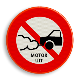 Verkeersbord Motor uitschakelen - personenauto Verkeersbord C06_motor uit soepbord, motor afzetten, verboden met draaiende motor, C6