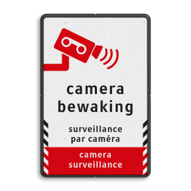 Verkeersbord videobewaking - 3 talen cameratoezicht, VPRO