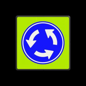 Verkeersbord Rotonde verplichte rijrichting Verkeersbord RVV D01f - Rotonde D01f Pijlbord, rond blauw bord, D1, D1f, fluor, rotonde, rontonde, D01