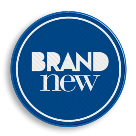 Logobord blauw/wit ROND zelf tekstbord maken, tekst invoeren, blauw bord