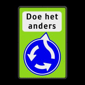 Verkeersbord RVV D01 FLUOR - Doe het anders Pijlbord, rond blauw bord, D1, D1f, fluor, rotonde, rontonde