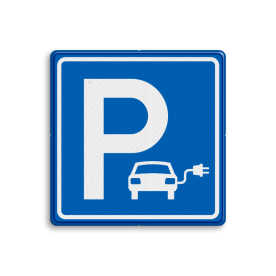 Parkeerbord elektrische auto - vierkant - IKEA stoep, parkeerplek, parkeerplaats, auto, electrisch, E8, smart