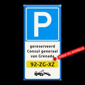 Tekstbord Eigen terrein + RVV E04 + 3 vrij invoerbare tekstregels + kenteken +wegsleepregeling Tekstbord 400x800mm E04-3txt-kenteken-wsr parkeren, wegslepen, eigen terrein, priveterrein,  parkeren,  eigen tekst, E4, kenteken