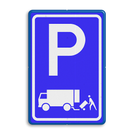 Verkeersbord Parkeerplaats laden en lossen - Gelegenheid voor het onmiddelijk laden en lossen van goederen Parkeergelegenheid alleen bestemd voor voertuigcategorie, of groep voertuigen, die op het bord is aangegeven Verkeersbord RVV E07 - Parkeergelegenheid Laden en lossen E07 vrachtwagens, parkeerbord voor vrachtwagens, E7, laad, losplaats, laden en lossen