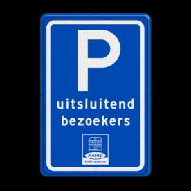 Parkeerbord type E08 met tekst en logo (1 kleur) stoep, parkeerplek, parkeerplaats, auto, electrisch, E8, volkswagen, logo, v.w.