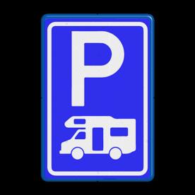 Verkeersbord Parkeerplaats campers. Parkeergelegenheid alleen bestemd voor voertuigcategorie, of groep voertuigen, die op het bord is aangegeven Verkeersbord RVV E08n - Parkeerplaats campers E08n camper, parkeerplaats, parkeerplek, rustplaats, camping, E8, E8n