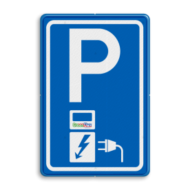 Parkeerbord Parkeerplaats met oplaad punt - Parkeergelegenheid alleen bestemd voor elektrische voertuigen Parkeerbord RVV E08o - oplaadpunt - Greenflux - BE04a BE04ag BW101 SP19 - autolaadpunt, autolaadpunt, oplaadpalen, oplaadpaal, BE04, elektrisch, Opladen, Laadpaal