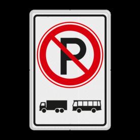 Verkeersbord ZONE parkeerverbod voor vrachtautos en bussen. Autobus is : motorvoertuig, ingericht voor het vervoer van meer dan acht personen, de bestuurder daaronder niet begrepen Vrachtauto is : motorvoertuig, niet ingericht voor het vervoer van personen, waarvan de toegestane maximum massa meer bedraagt dan 3500 kg Verkeersbord RVV E201 vrachtautos verboden, niet parkeren, geen bussen, zone, vrachtwagens, E201