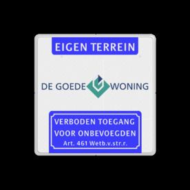Verkeersbord Koptekst - LOGO - VT461  Wit / witte rand, (RAL 9002 - wit), Eigen terrein, , Verboden toegang