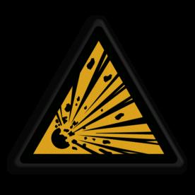 Product Waarschuwing explosie gevaar Veiligheidspictogram - Pas Op! Explosief materiaal- W002 Explosie, ontploffing, gevaar, brand, explosieve stoffen