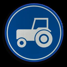 Verkeersbord ** NIEUW RVV - GELDIG vanaf 01-01-2017 ** Verplicht gebruik passeerstrook, uitsluitend bestemd voor motorvoertuigen die niet sneller kunnen of mogen rijden dan 25 km/h. Verkeersbord RVV F11 - Passeerstrook langzaam verkeer F11 nieuw, tractor