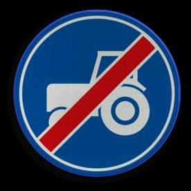 Verkeersbord ** NIEUW RVV - GELDIG vanaf 01-01-2017 ** Einde verplicht gebruik passeerstrook, uitsluitend bestemd voor motorvoertuigen die niet sneller kunnen of mogen rijden dan 25 km/h. Verkeersbord RVV F12 - Einde passeerstrook langzaam verkeer F12 tractor