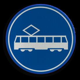 Verkeersbord ** NIEUW RVV - GELDIG vanaf 01-01-2017 ** Rijbaan of rijstrook uitsluitend ten behoeve van trams. Verkeersbord RVV F15 - Rijbaan of -strook tram F15 nieuw, tram