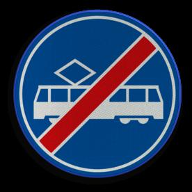 Verkeersbord ** NIEUW RVV - GELDIG vanaf 01-01-2017 ** Einde rijbaan of rijstrook uitsluitend ten behoeve van trams. Verkeersbord RVV F16 - Einde rijbaan of -strook tram F16 nieuw, tram