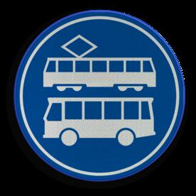 Verkeersbord ** NIEUW RVV - GELDIG vanaf 01-01-2017 ** Rijbaan of rijstrook uitsluitend ten behoeve van lijnbussen en trams. Verkeersbord RVV F17 - Rijbaan of -strook bus en tram F17 nieuw, tram, bus, trams en bussen, rijstrook, rijbaan, trambaan, tramstrook, busbaan, busstrook