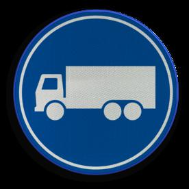 Verkeersbord ** NIEUW RVV - GELDIG vanaf 01-01-2017 ** Rijbaan of rijstrook uitsluitend ten behoeve van vrachtverkeer. Verkeersbord RVV F21 - Rijbaan of -strook vrachtverkeer F21 nieuw, vrachtauto, rijbaan, rijstrook, vrachtwagens