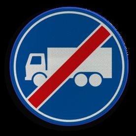 Verkeersbord ** NIEUW RVV - GELDIG vanaf 01-01-2017 ** Einde rijbaan of rijstrook uitsluitend ten behoeve van vrachtverkeer. Verkeersbord RVV F22 - Einde rijbaan of -strook vrachtverkeer F22 nieuw, vrachtauto, einde rijstrook, rijbaan, vrachtwagen