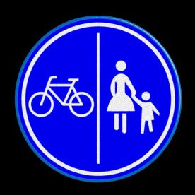 Verkeersbord *** GEEN OFFICIEEL VERKEERSBORD *** Kunnen geen rechten aan worden ontleend ** Verkeersbord gecombineerd fiets / voetpad | België logobord, eigen ontwerp, schoolplein, speciale borden