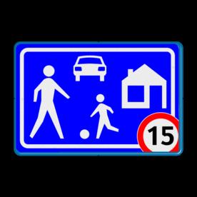 Verkeersbord Woonerf met snelheidsbeperking Verkeersbord RVV G05 / A1-xx - Woonerf Rijswijks verkeersbord, kinderen, G5, woonerf met snelheid, nieuw verkeersbord