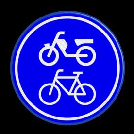 Verkeersbord Verplicht fiets / bromfietspad Verkeersbord RVV G12a - Verplicht fiets / bromfietspad G12a fietsen, bromfietsen, brommer, G12, G12 a