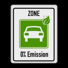 Zonebord begin ZERO Emissie - milieuzone Milieu, zone, 0%, emision,