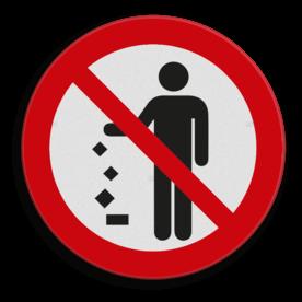 Product Verboden afval op de grond gooien. Veiligheidspictogram - Geen afval op de grond gooien afval, rommel, verbod