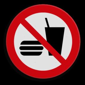 Veiligheidspictogram Geen eten meenemen Veiligheidspictogram - Eten en drinken verboden - P022 eten, verboden te eten, verboden eten mee te nemen, eten verboden, voedsel, drinken, food, verboden, drinken, eten en drinken, drinkbeker, hamburger