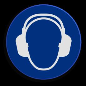 Veiligheidspictogram Gehoorbescherming dragen is verplicht   Veiligheidspictogram - Gehoorbescherming verplicht - M003 NEN7010, veiligheidspictogram, gehoor, oor, bescherming