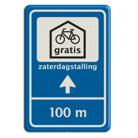 Verkeersbord Gratis fietsenstalling Verkeersbord 40x60 GEMU fietsenstalling + txt pijlbord, fietsparkeren, gratis, Utrecht, gemeente