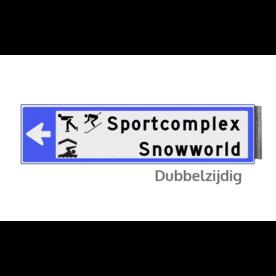 Bewegwijzeringsbord - DUBBELZIJDIG - 800x200x15mm blauw/wit 2 regelig en pijl dubbelzijdig, verwijs, pijlbord