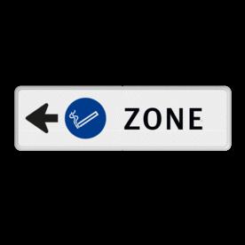 Routebord pijl links - ROOKZONE + eigen tekst routebord, camping, eigen terrein, bezoekers