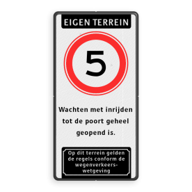 informatiebord Eigen terrein + RVV A01 snelheidsbeperking + videobewaking + verboden toegang artikel 461 informatiebord SE-ARD ET-RVV-3txt-OT parkeerbord, logo, verboden toegang, engelse tekst, eigen terrein, parkeerverbod, wegsleepregeling, speciale borden, camera, A1