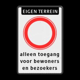 Bord Eigen terrein - geslotenverklaring C1 + eigen tekst Bord verboden in te rijden - RVV C1(C01) met eigen tekst C01 parkeerbord, eigen terrein, fluor, geel, RVV C01, parkeren,  vrij invoerbare tekst, C1