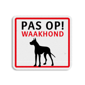 TBH PAS OP! Waakhond 119x109mm - klasse 3 Terreinbord, 119x109, Waakhond, hond,