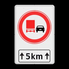 Verkeersbord RVV F03-xxx met ondertekst F03OB411 cadeau, kado, Zonebord , A01-30, verboden voor vrachtwagen om in te halen.