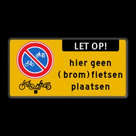 Verkeersbord E03 + geen (brom)fietsen plaatsen + slot Wit / witte rand, (RAL 9016 - wit), E01,  Wegsleepregeling van kracht, uitgezonderd, Arts