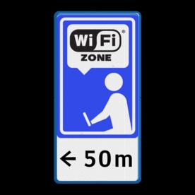 Informatiebord blauw/wit/zwart - Wifi-zone + txt Wit / blauwe rand, (RAL 5017 - blauw), Wifi Zone, wi fi, zeeuws vlaanderen