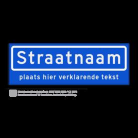 Straatnaambord met ondertekst KOKER 60x20cm - max. 10 karakters - NEN1772 straat, straatnaamborden, naambord, straatbord, kokerbord, NEN, officieel, wegnaam, sign, street, 600, 60, ondertekst, verklarende, tekst