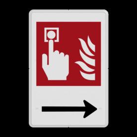 Brandweer - Brandalarm - F005 + Pijl rechts Wit / witte rand, (RAL 9002 - wit), Brandalarm - knop, Rechts