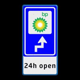 Bewegwijzering LOGO + tekst | BW101 + pijlfiguratie Wit / blauwe rand, (RAL 5017 - blauw), BEW101 rotonde links, Bungalow, Bungalopark, De Walnoot