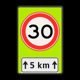 Verkeersbord RVV A01-xxf - OB401-xxx Fluor geel-groen / zwarte rand, (RAL 9005 - zwart), A01-30, Onderbord OB411 - afstand