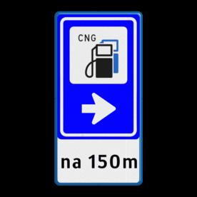 Bewegwijzering Openbare ruimte + tekst | BW101 + pijlfiguratie cng, lpg, tanken