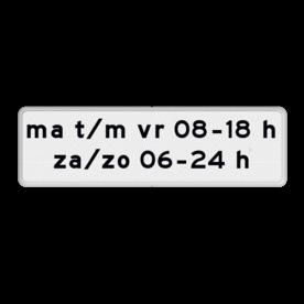 Verkeersbord Onderbord - Geldt alleen voor periode Verkeersbord RVV OB204p - Onderbord - Geldt alleen voor periode OB24p eigen tekst, wit bord, OB204p