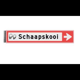 Bewegwijzeringsbord - ENKELZIJDIG - 800x150x15mm RAL3020 1 regelig en pijl
