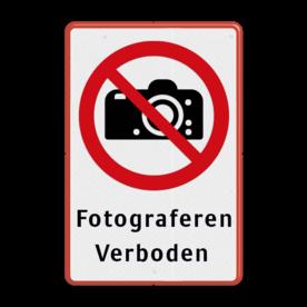 Veiligheidspictogram - Fotograferen verboden - P029 + Eigen tekst Wit / rode rand, (RAL 3020 - rood), Verboden te fotograferen, Fotograveren, Verboden